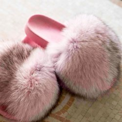 Ritsel Pink Sliders με γούνα FOX